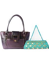 Haster Women's Shoulder Bag Purple And Clutch Combo