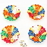 Ghasitaram Gifts Set Of Four Flower Diyas With 200 Gms Kaju Katli