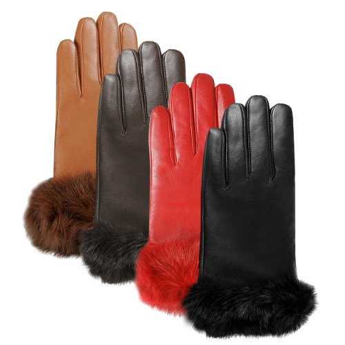 Luxury Lane Women's Cashmere Lined Rabbit Fur Cuff Lambskin Leather Gloves in Black, Chocolate, Tobacco, or Red