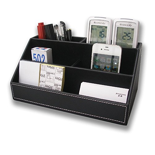 Foxwill™ Home Offfice Wooden Struction Leather Multi-function Desk Stationery Organizer Storage Box, Pen/Pencil ,Cell phone, Business Name Cards, Note Paper, Remote Control Holder Organizer (Black)
