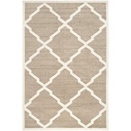Safavieh Amherst Collection AMT421S Wheat and Beige Indoor/ Outdoor Area Rug, 4 feet by 6 feet (4\' x 6\')