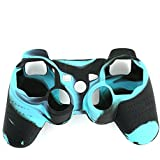 niceeshop(TM) Black and Blue Super Grip Glow Silicon Protective Skin Case Cover for Sony Playstation PS3 Remote Controller