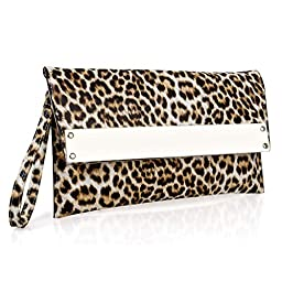 BMC Womens Tan Leopard Animal Print Ultra Thin Faux Leather Metal Bar Accent Envelope Flap Wristlet Clutch Handbag
