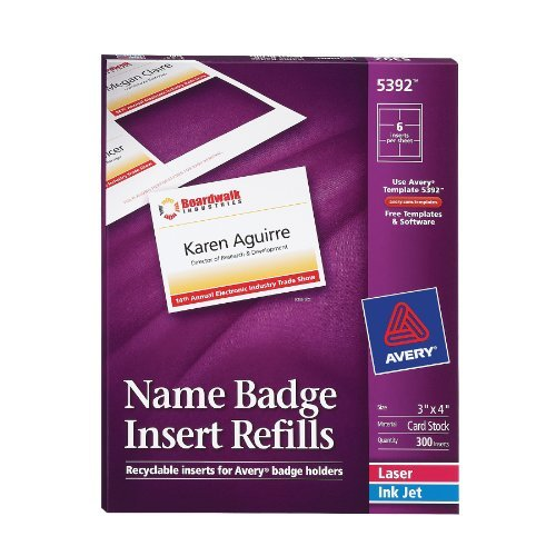 Avery White 3 x 4 Inch Name Badge Insert Refills 300 Count (5392) Size: 1-Pack, Model: 5392, Office/School Supply Store (Avery Name Badge Inserts 5392 compare prices)