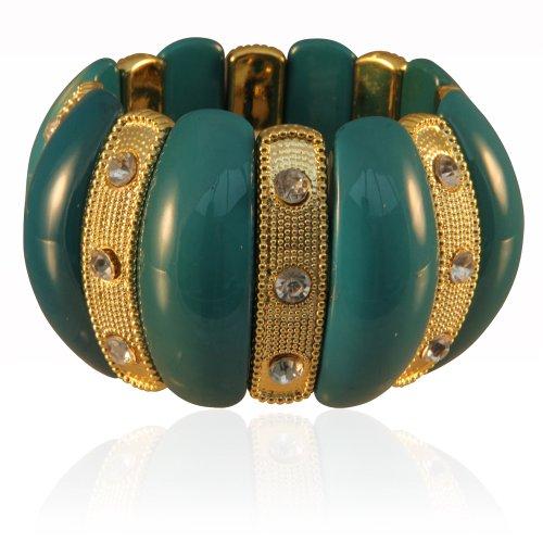 Dress me In Green Stretch Bangle Bracelet with Rhinestones
