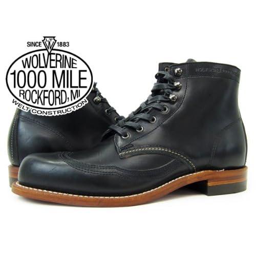 (ウルヴァリン)WOLVERINE 1000 MILE BOOT WINGTIP BOOT BLACK [並行輸入品]