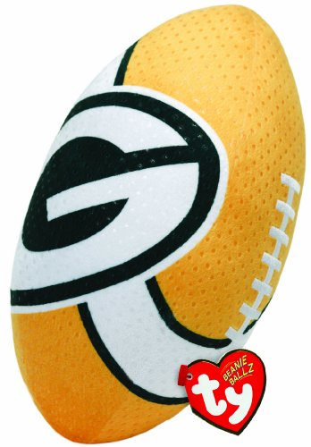 Ty Beanie Ballz NFL RZ Green Bay Packers Football Plush - 1