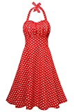 EA Selection Women's 1950's Vintage Halter Ruched Polka Dots Swing Tea Dress Large Red