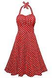 EA Selection Women's 1950's Vintage Halter Ruched Polka Dots Swing Tea Dress Large Red