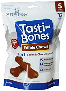 Yuppie Puppy 12 Count Tasti-Bones Pet Treat, Bacon/Cheese, Small