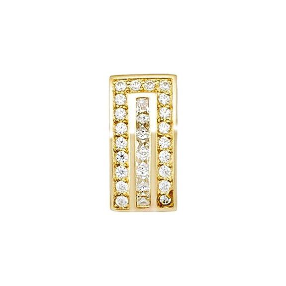 18k gold pendant zircons rail [AA4646]