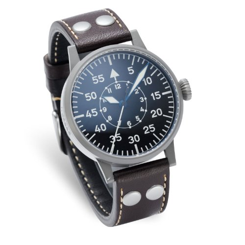 Laco 1925 Men's Quartz Watch with Black Dial Analogue Display and Brown Leather Strap 861745