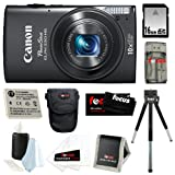 Canon PowerShot ELPH 330 HS 12.1 MP Wi-Fi Enabled CMOS Digital Camera with 10x Optical Zoom 24mm Wide-Angle Lens and 1080p Full HD Video (Black) + 16GB Memory Card + Universal Memory Card Reader + Kit