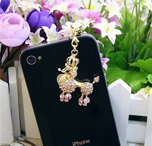 1Pcs Bling Rhinestone Lucky Dog Cute Dog Poodle 3.5Mm Anti Dust Earphone Ear Cap Plug For Iphone Samsung Htc All 3.5Mm Device (Pink)