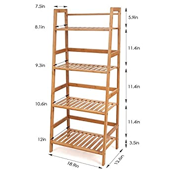 HOMFA Bamboo 4 Shelf Bookcase, Multifunctional Ladder-Shaped Plant Flower Stand Rack Bookrack Storage Shelves