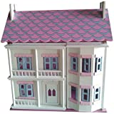 Mamakiddies Georgian Wooden Doll House with Furniture and Dolls (White)by Mamakiddies