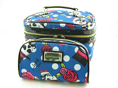 Betsey Johnson 2Pc Cosmetic Train Toiletry Case Skulls Mustache Blue Multi front-933351