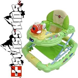 swiss kids lernlaufhilfe gehfrei lauflerner lauflernwagen baby walker laufhilfe fisch gr n. Black Bedroom Furniture Sets. Home Design Ideas