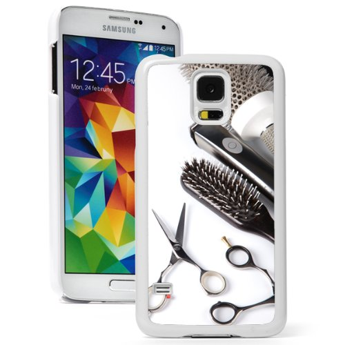 Samsung Galaxy S5 Hard Back Case Cover Color Scissors Comb Brush Hair Dresser (White) (Hair Brush Case For Galaxy S5 compare prices)