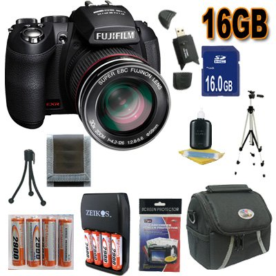 Fujifilm FinePix HS20 16 MP Digital Camera with EXR BSI CMOS High Speed Sensor and Fujinon 30x Wide Angle Optical Zoom Lens Accessory Saver 16GB NiMH Battery/Rapid Charger Bundle