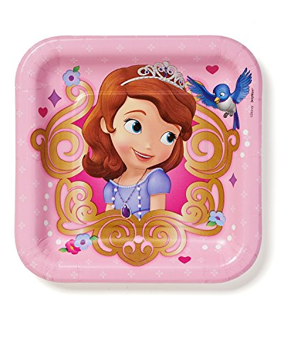 "American Greetings Sofia the First 7"" Square Plate, 8 Count, Party Supplies Novelty - 1"