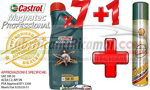 Olio-Motore-Auto-Castrol-Magnatec-Professional-5w30-C2-Fully-Synthetic-per-motori-benzinaDiesel-7-litri-1-Bomboletta-Shell-Advance-Helmet-Visor-Spray-Pulitore-casco-Finestrini-auto-piastrelle-specchi-