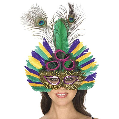 Deluxe Mardi Gras Feather Eye Costume Mask