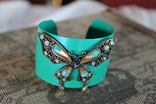 fall-runway-trends-up-cycled-vintage-bangle-bracelet-butterfly-brooch-turquoise-enamel-gunmetal-epox