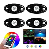 LED RGB Rock Lights Cell Phone APP Bluetooth Control 4 Pods Multicolor Neon LED Light Kit for JEEP ATV SUV Off-Road Truck Boat