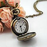 Enjoydeal Retro Pocket Watch Rose Flower Pattern Bronze Steampunk Pendant Necklace Clock Sweater Chain