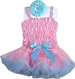 Baby Blue and Pink Pettiskirt Set - 3 Pc Set SML 2-3