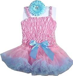 Baby Blue and Pink Pettiskirt Set - 3 Pc Set SML 2-3