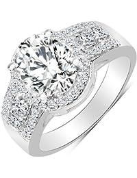 BridalMe American Diamond Silver Ring For Women (JZR10511WCZ_SS)