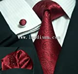 Landisun 29C Burgundy Paisleys Mens Silk Tie Set: Tie+Hanky+Cufflinks Exclusive