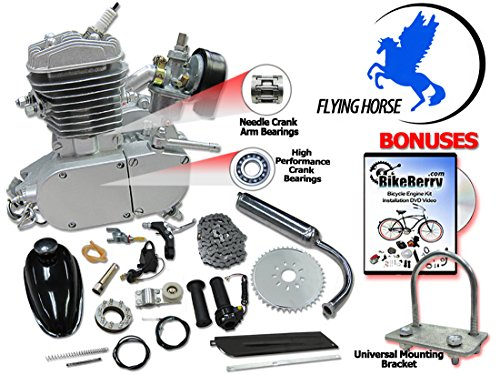 66/80cc Flying Horse Silver Angle Fire Bicycle Engine Kit - 2 Stroke (Motor Bicycle Kit compare prices)