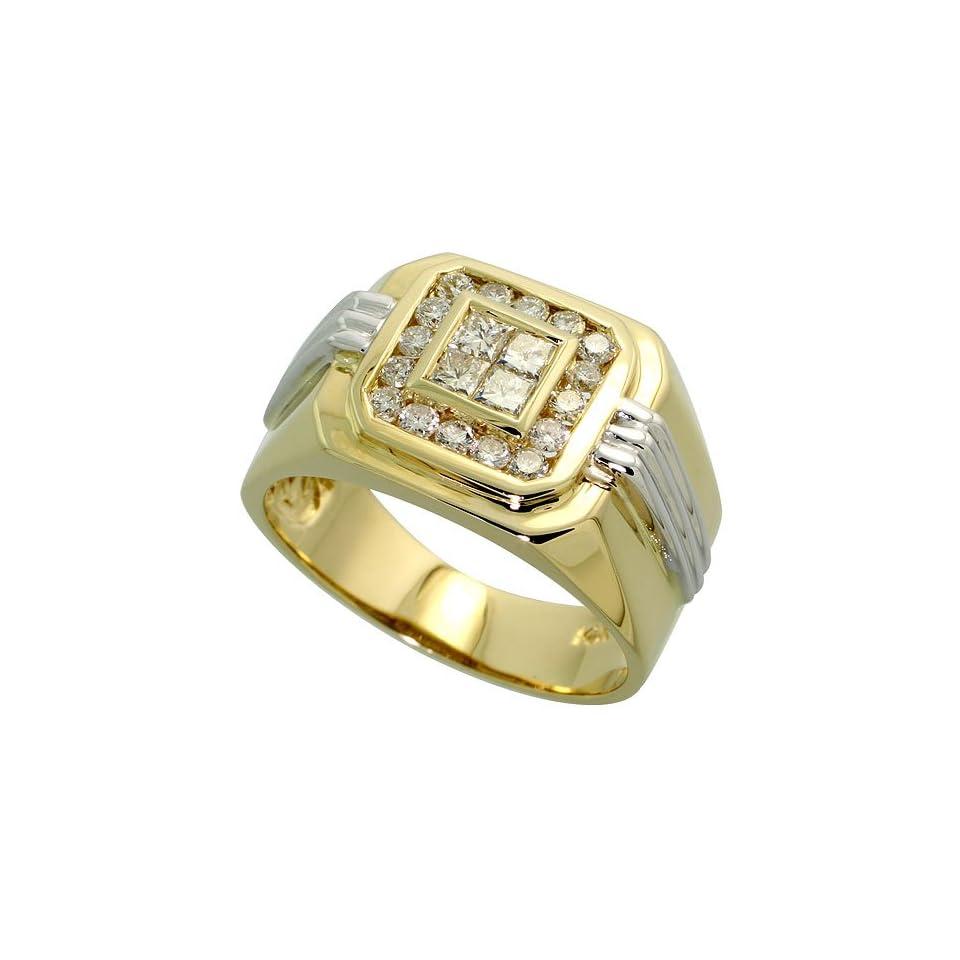 14k Two tone Gold Mens Square Ring, w/ 1.00 Carat Brilliant Cut
