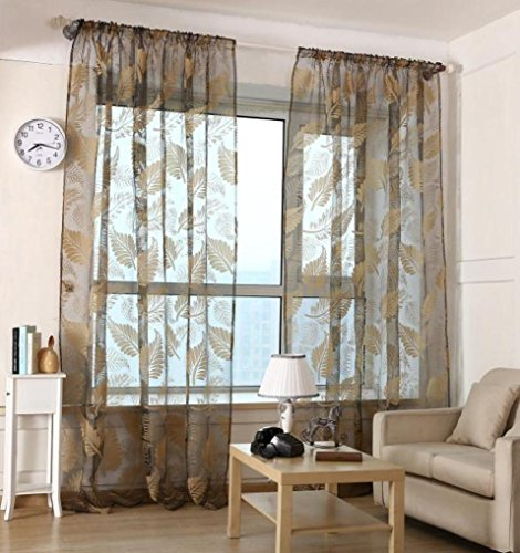 Bigban Leaf Tulle Door Window Curtain Drape Panel Sheer Scarf Valances (Black) (Rod Extender Brackets compare prices)