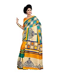 Anu Designer Self Print Saree (6412A_Multi-Coloured)