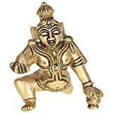 Kapasi Handicrafts Hand Laddu Krishna Brass Idol (2.5 X 2.5 X 3 Inches)