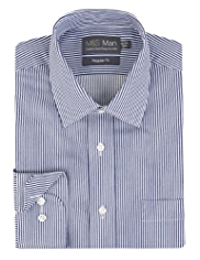 2in Longer Cotton Rich Easy to Iron Satin Bengal Striped Shirt