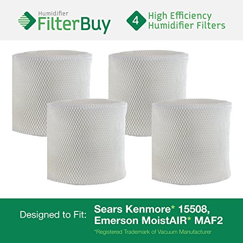 4 - MAF2 Emerson MoistAIR & 15508 Sears Kenmore Humidifier Wick Replacement Filters. Designed by FilterBuy to replace Emerson Part # MAF2 & Kenmore Part # 15508, Noma Part #EF2