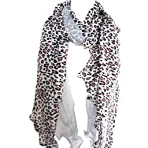 Leopard Animal Print Shawl Long Scarf Light Sheer Tonal Accent By Silver Fever® Brand (Ivory/Brown)