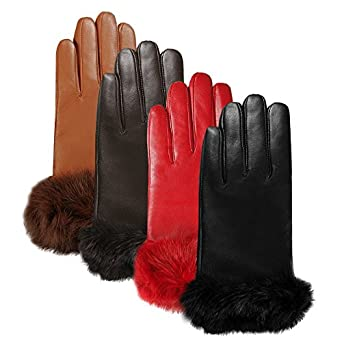 Luxury Lane Women's Rabbit Fur Cuff Cashmere Lined Lambskin Leather Gloves - Black Medium