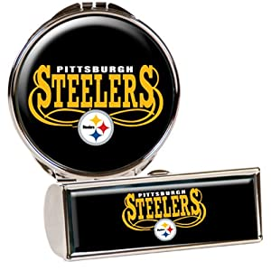 NFL Pittsburgh Steelers Lipstick Case and Compact Mirror Set, Silver
