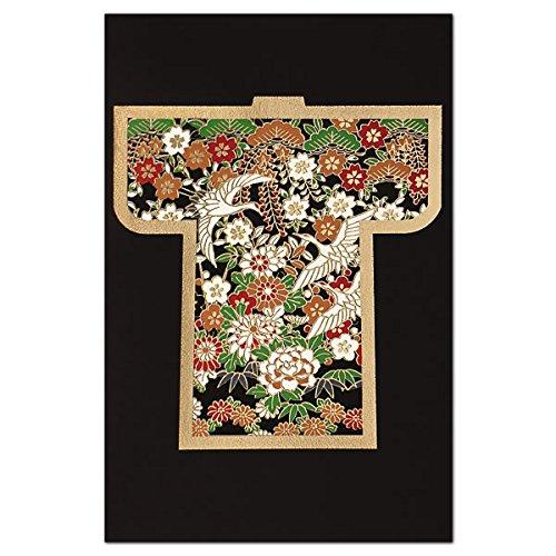 クリスマスカード 和風 海外向け 吉344 表現社 「黒地に金の紋付絵柄が鶴と花」