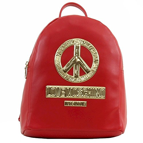 5e082539b9 Love Moschino Women's Peace Red Leather Backpack Handbag - SHOP ...
