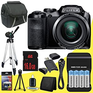 Fujifilm FinePix S4800 16 MP Digital Camera (Black) + 4 AA Pack NiMH Rechargeable Batteries and Charger + 16GB SDHC Class 10 Memory Card + Mini HDMI Cable + Carrying Case + Full Size Tripod + SDHC Card USB Reader + Memory Card Wallet + Deluxe Starter Kit