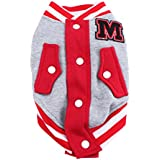 Imported Pet Dog Cat Baseball Jacket Winter Clothes Coat Uniform Costumes Red XL