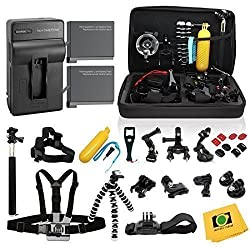 GHC Complete Kit for GoPro Hero4 Black or silver: 2 Batteries, Charger + 30pcs accessories Kit. Outdoors Bundle for Hero 4: 2 batteries +Charger +Head & Chest Straps +Grip +Tripod +Suction Cup &More