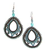 Just Give Me Jewels Handcrafted Brown/Turquoise Beaded Teardrop Dangle Earrings